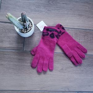 Coach Rabbit Fur Cheetah Touch Knit Gloves OS
